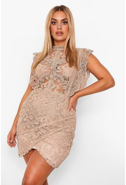 Stone beige Plus Lace High Neck Ruffle Wrap Dress