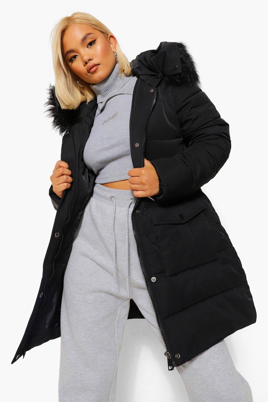 COATS & JACKETS Petite Faux Fur Hood Tie Waist Padded Parka