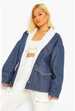 Mid blue blue Petite Borg Lined Denim Jacket