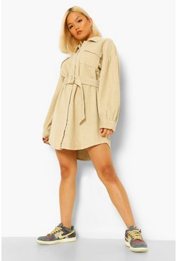 Ecru white Petite Cord Volume Sleeve Belted Mini Dress