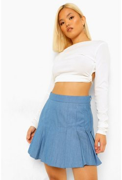 Mid blue blue Petite Pleated Denim Tennis Skirt