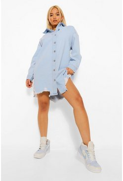 Light blue blue Petite Distressed Denim Shirt Dress