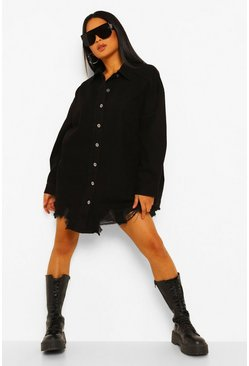 Black Petite Oversized Distressed Hem Denim Shirt