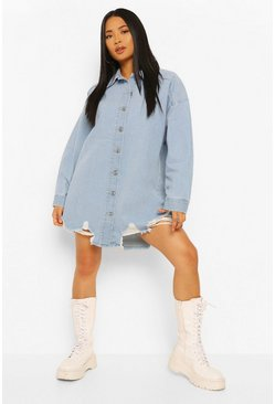 Mid blue blue Petite Oversized Distressed Hem Denim Shirt