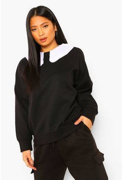 Black Petite Ruffle Peter Pan Collar Oversized Sweatshirt