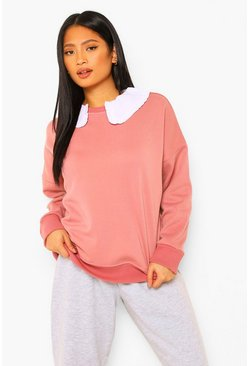 Rose pink Petite Oversized Sweater Met Ruches En Peter Pan Kraag