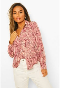Pink Petite Oversized Marble Print Shirt