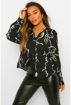 Black Petite Oversized Abstract Print Shirt