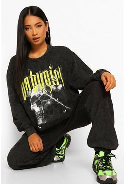 Charcoal grey Petite Oversized Acid Wash 'Babygirl' Sweatshirt