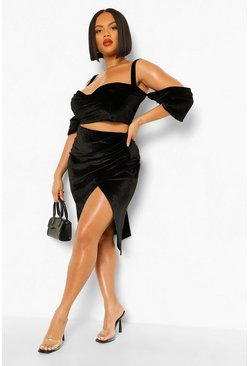 Black Plus Drape Split Midi Skirt