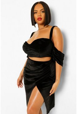 Plus Drape Sleeve Velvet Crop Top, Black noir
