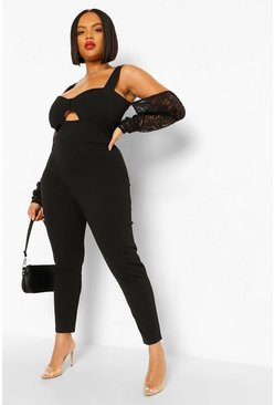 Black Plus Puff Sleeve Lace Jumpsuit