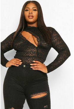 Black Plus Slash Front Lace Bodysuit
