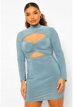 Petrol grey Plus Soft Touch Ruched Cut Out Mini Dress