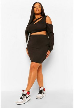 Black Plus Cut Out Side Long Sleeve Bodycon