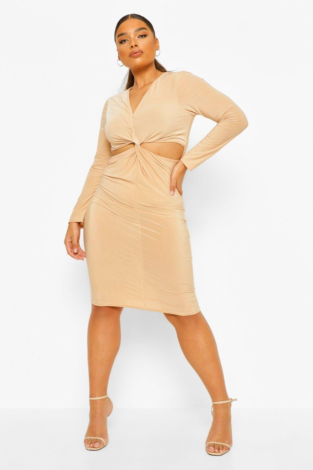 Plus Soft Touch Knot Cut Out Midi Dress 17