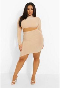 Stone beige Plus Soft Touch High Neck Cut Out Mini Dress