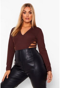 Plus v Neck Plunge Cut Out Bodysuit, Chocolate marrón