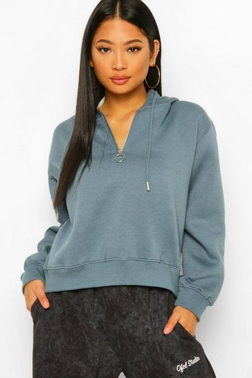Blue Petite Half Zip Oversized Hoodie