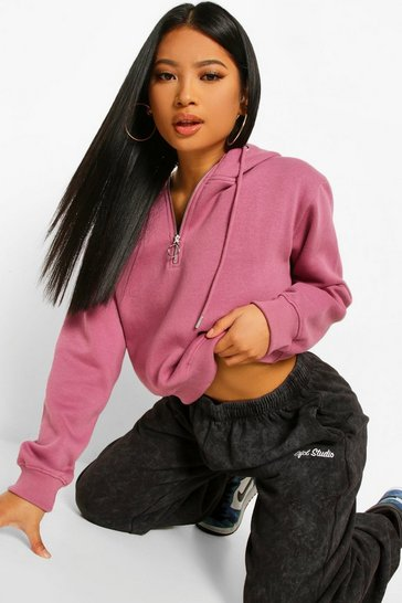Mauve purple Purple Petite Half Zip Oversized Hoodie