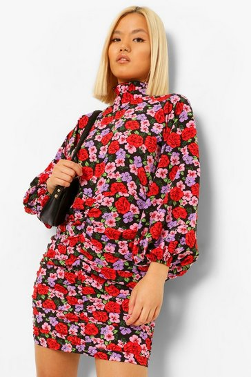 Black Petite Floral Volume Sleeve Ruched Mini Dress