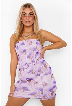 Lilac purple Plus Printed Mesh Corset Mini Dress