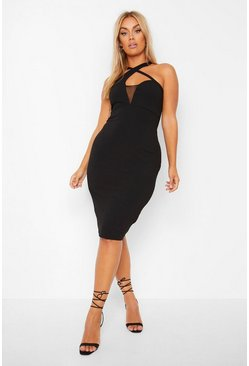 Black Plus Plunge Scuba Crepe Mesh Midi Dress