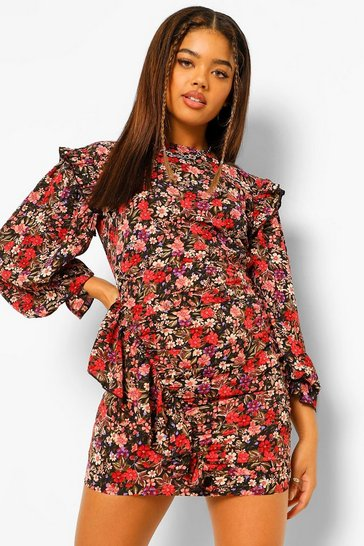 Petite Floral Side frill Mini Dress