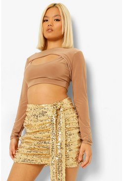 Gold metallic Petite Sequin Drape Mini Skirt