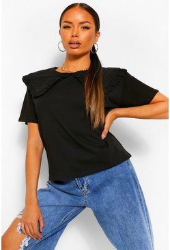 Black Petite Peter Pan Collar T-Shirt