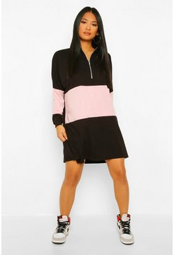 Black Petite Colour Block Zip Detail Sweat Dress