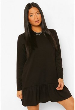 Black Petite Tiered Smock Sweat Dress