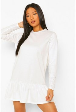 Ivory white Petite Tiered Smock Sweat Dress