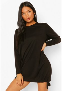 Black Petite Drawcord Hem Sweat Dress
