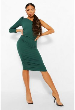 Emerald green Petite One Shoulder Ruched Midi Dress