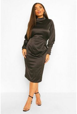 Black Plus Satin High Neck Midi Dress