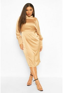 Gold metallic Plus Satin High Neck Midi Dress