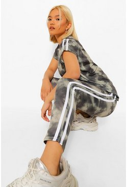 Green Petite Tie Dye Side Stripe Detail Legging Co-Ord
