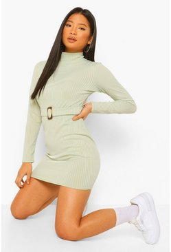 Sage green Petite Long Sleeve Belted Rib Mini Dress