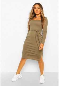 Petite Long Sleeve Belted Square Neck Midi Dress, Khaki Хаки