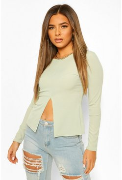 Sage green Petite Long Sleeve Split Hem Rib Top