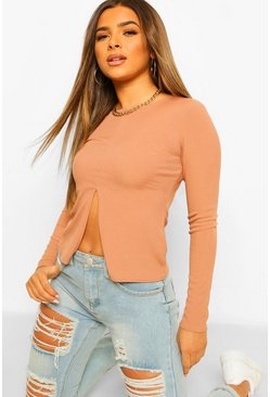 Toffee beige Petite Long Sleeve Split Hem Rib Top