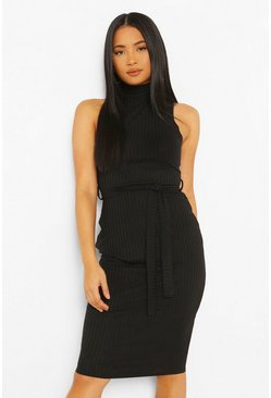 Black Petite Roll Neck Belted Midi Dress