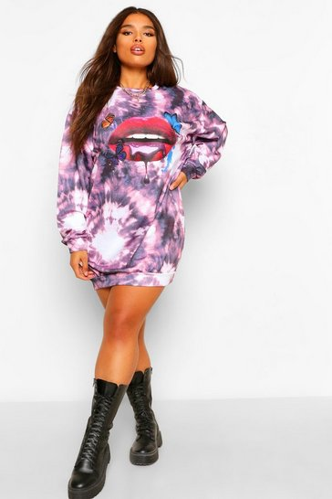 Purple Plus Tie Dye Lip Printed Sweat Dress