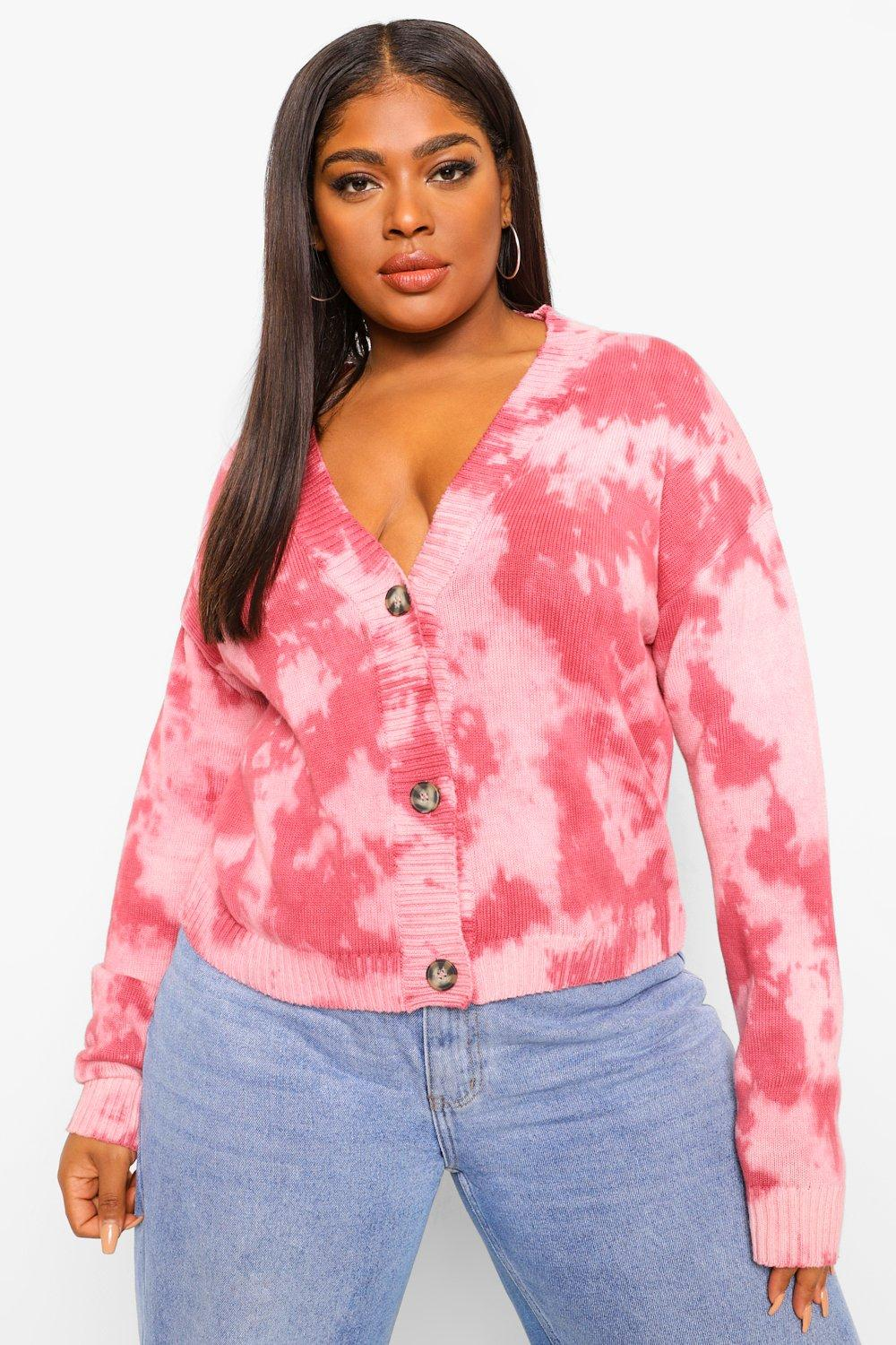 Plus Tie Dye Knitted Cardigan 11