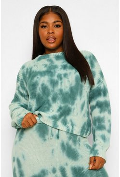 Green Plus Tie Dye Knitted Jumper