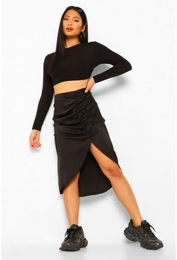 Black Petite Satin Ruched Front Midi Skirt