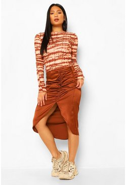 Chocolate brown Petite Satin Ruched Front Midi Skirt