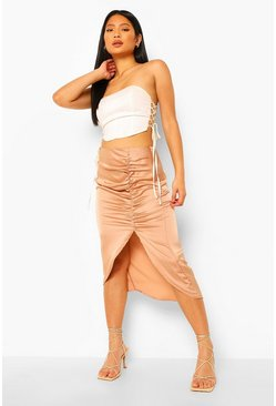 Nude Petite Satin Ruched Front Midi Skirt