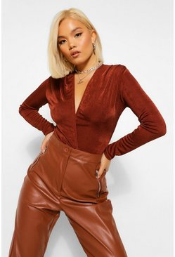 Chocolate brown Petite Plunge Long Sleeve Bodysuit